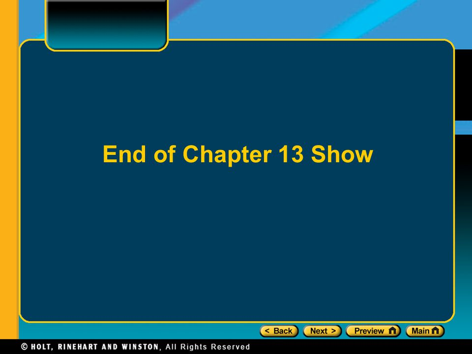 End of Chapter 13 Show