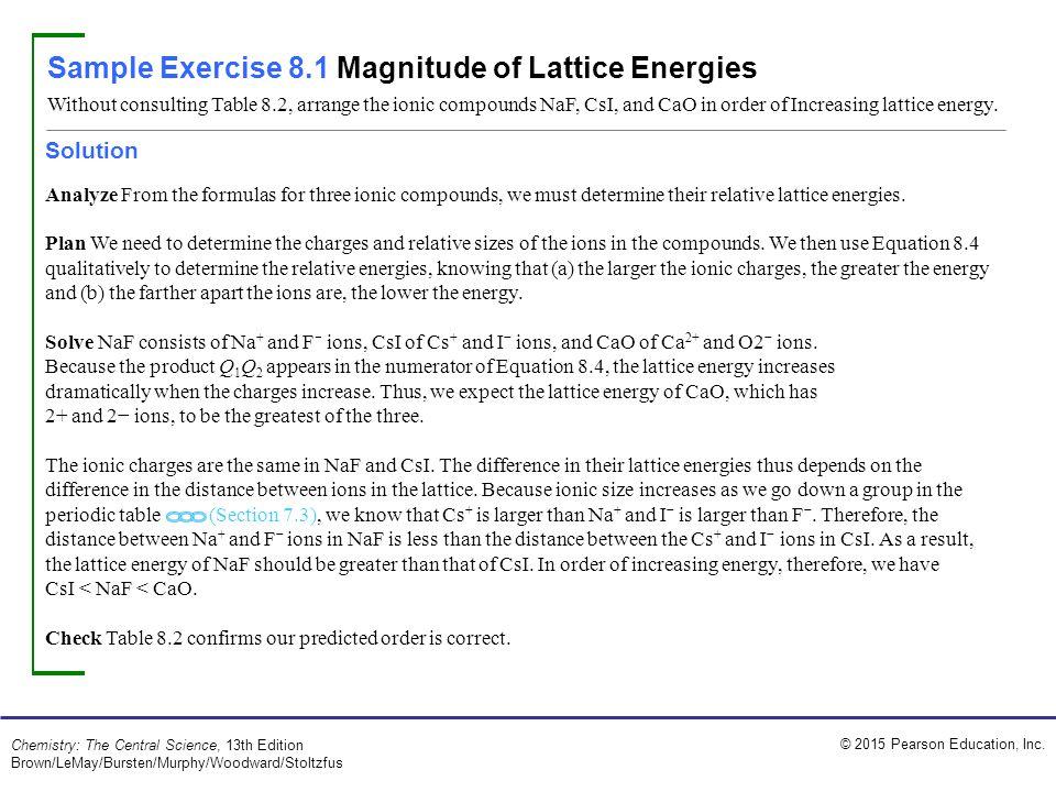 Sample Exercise 8.1 Magnitude of Lattice Energies