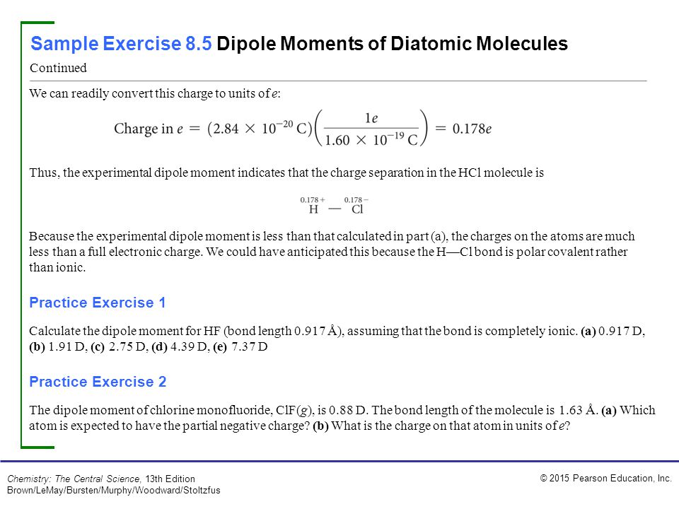 Sample Exercise 8.5 Dipole Moments of Diatomic Molecules