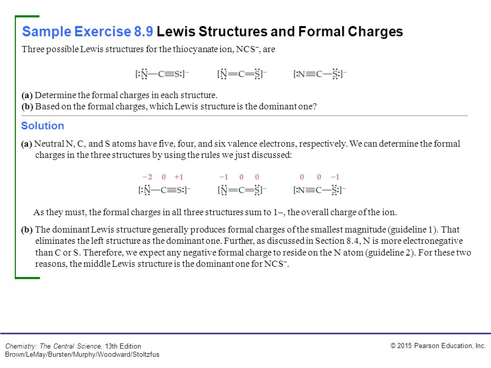 Sample Exercise 8.9 Lewis Structures and Formal Charges