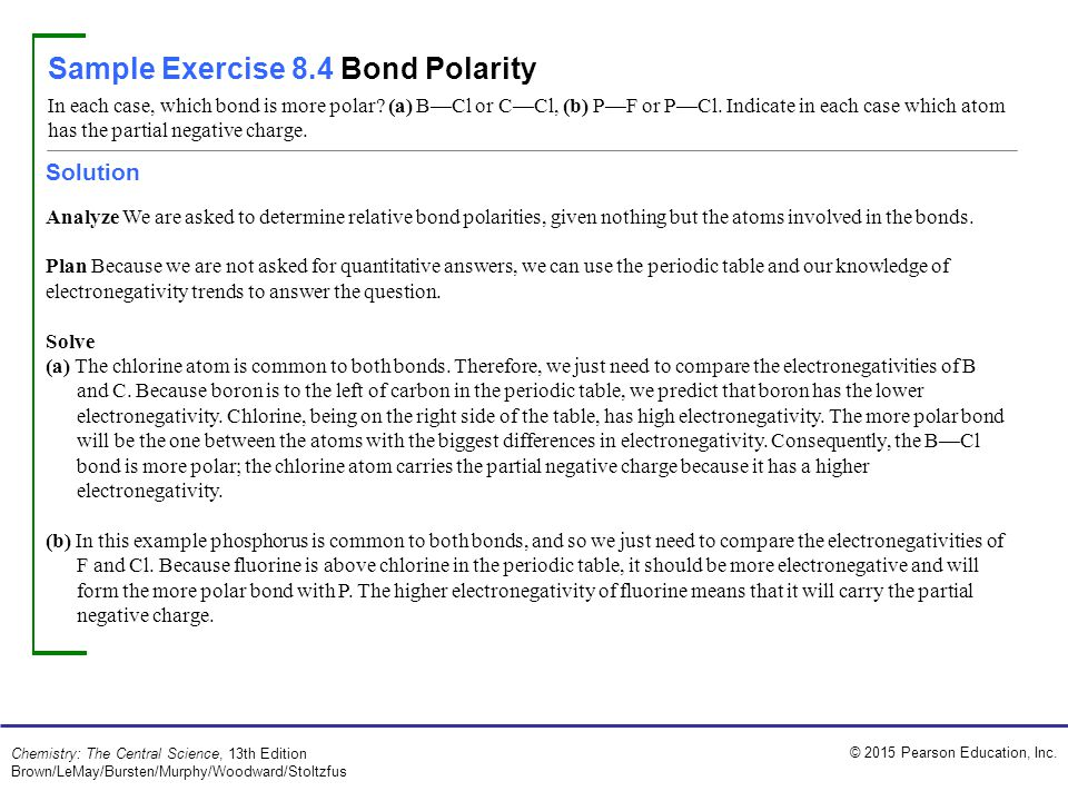 Sample Exercise 8.4 Bond Polarity