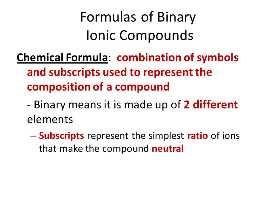 Formulas of Binary Ionic Compounds