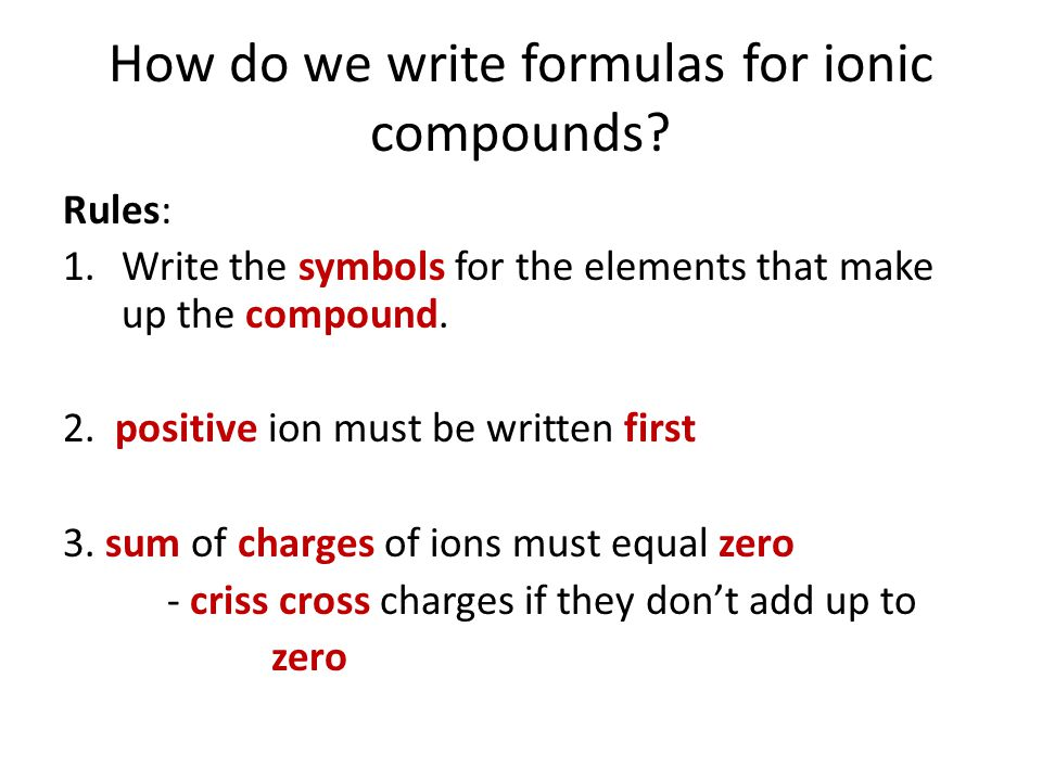 How do we write formulas for ionic compounds