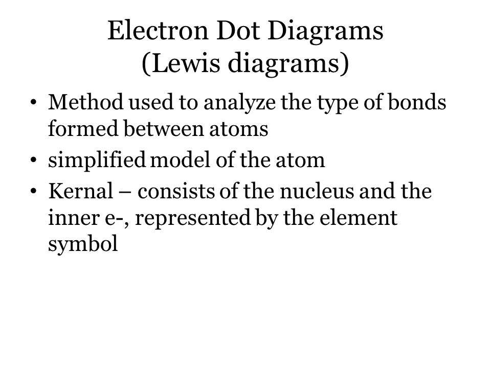 Electron Dot Diagrams (Lewis diagrams)