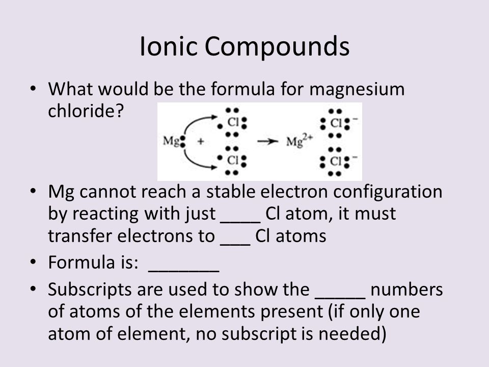 Ionic Compounds What would be the formula for magnesium chloride