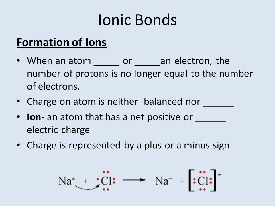Ionic Bonds Formation of Ions
