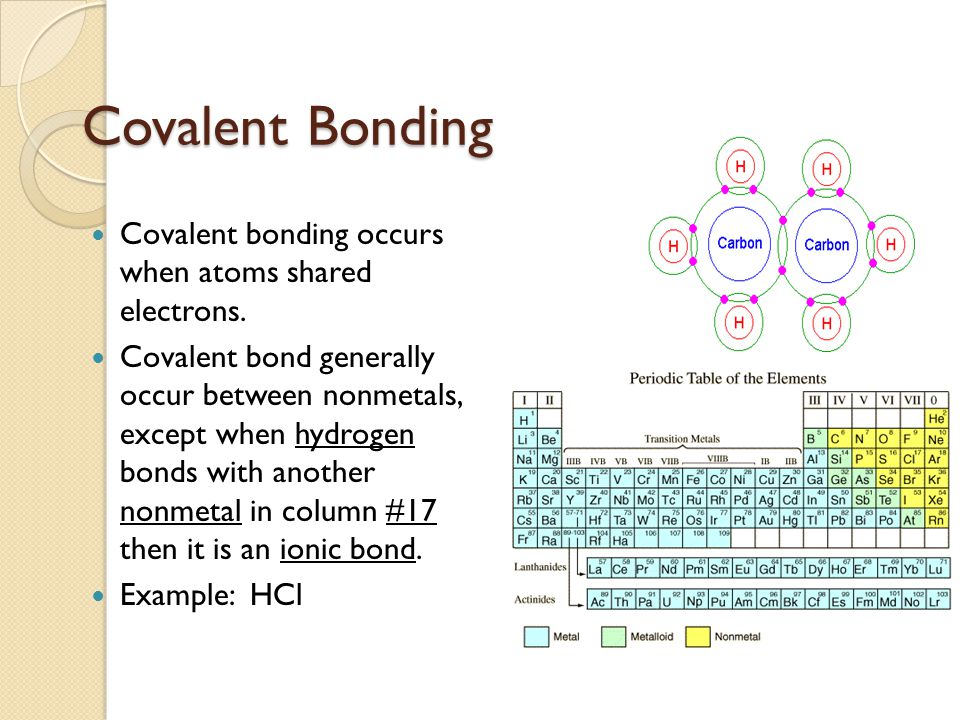 Covalent Bonding Covalent bonding occurs when atoms shared electrons.