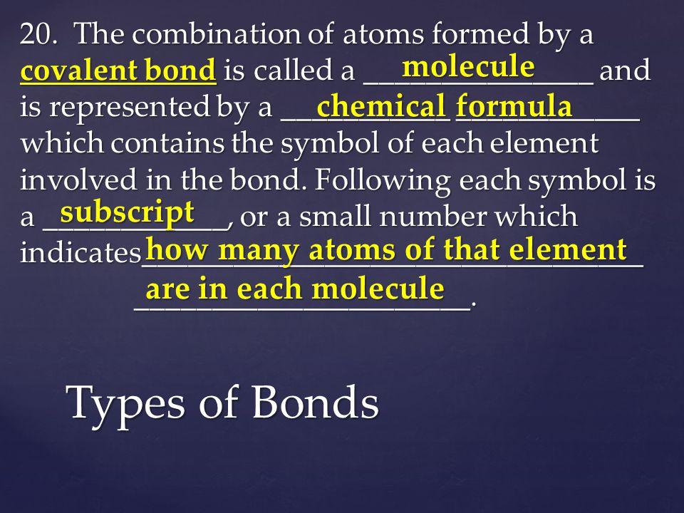 Types of Bonds molecule chemical formula subscript