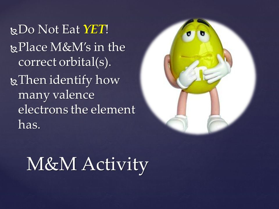 M&M Activity Do Not Eat YET! Place M&M's in the correct orbital(s).