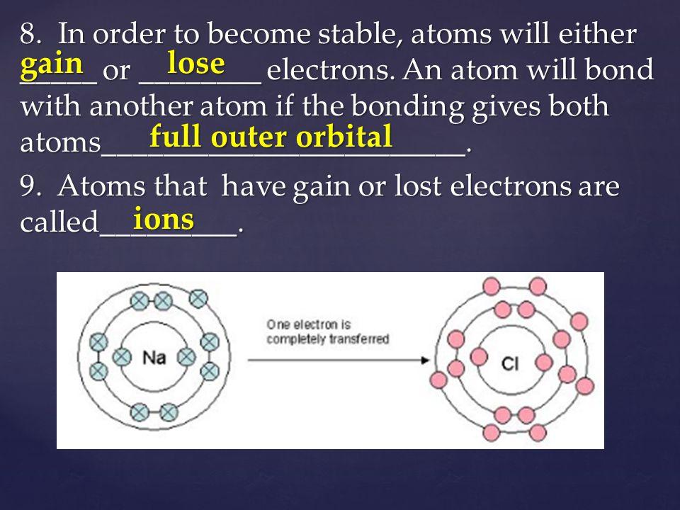 Chemical Bonding gain lose full outer orbital ions