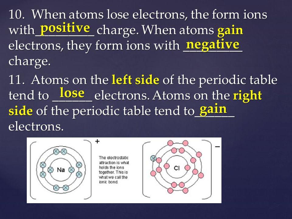 Chemical Bonding positive negative lose gain