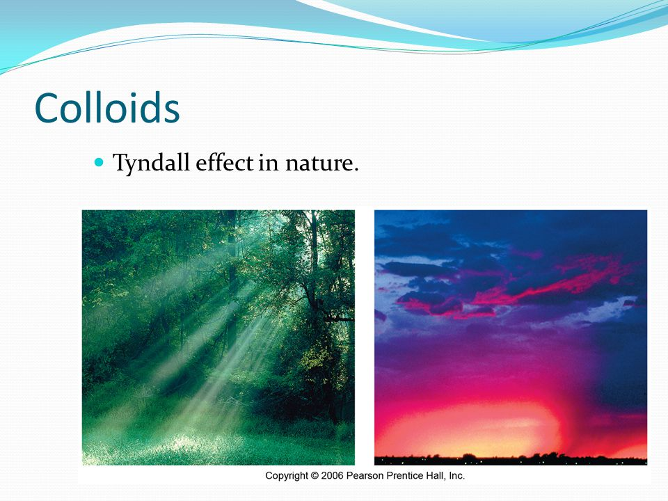 Colloids Tyndall effect in nature.