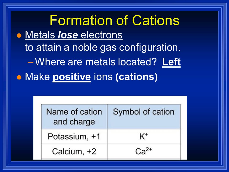 Formation of Cations Metals lose electrons to attain a noble gas configuration. Where are metals located Left.