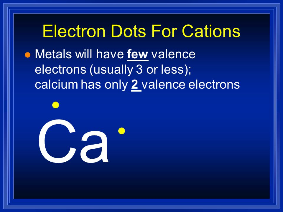 Electron Dots For Cations