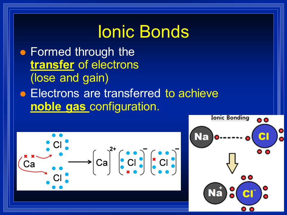 Ionic Bonds Formed through the transfer of electrons (lose and gain)