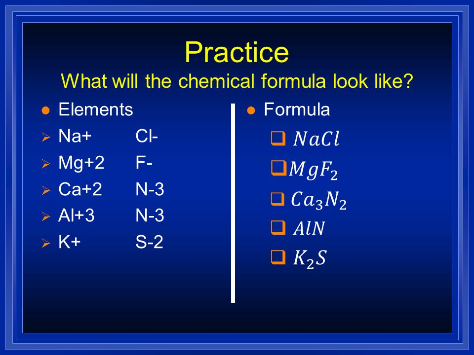 Practice What will the chemical formula look like