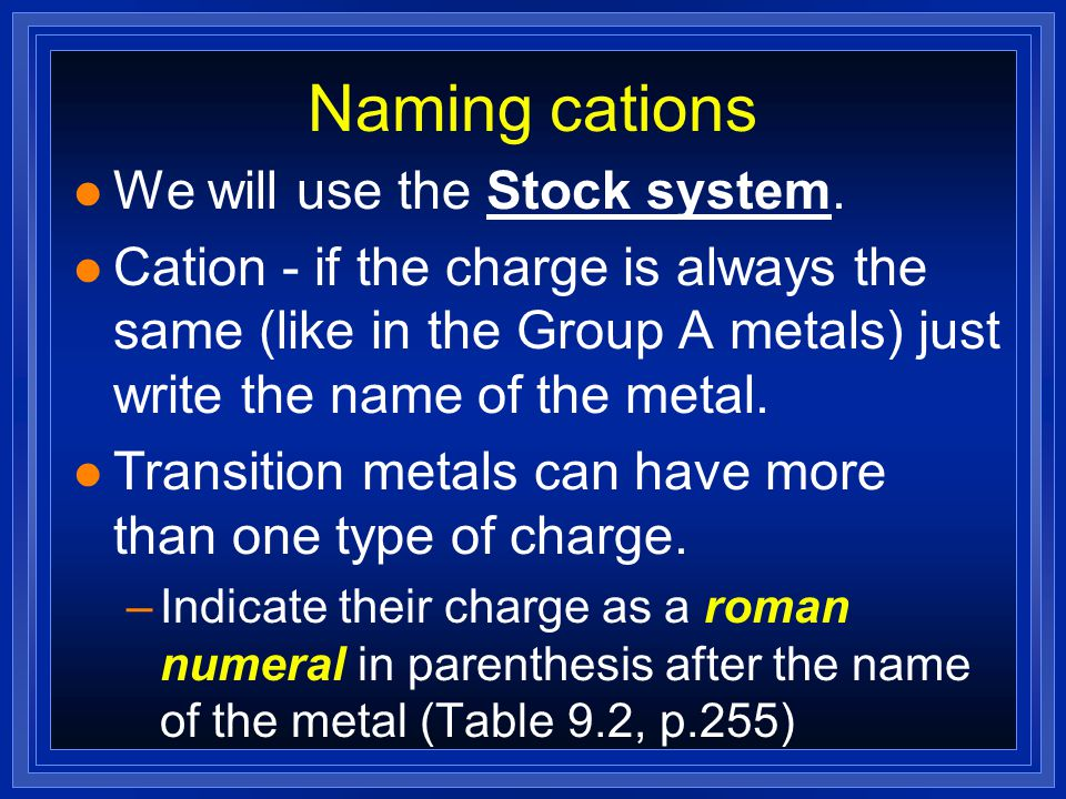 Naming cations We will use the Stock system.