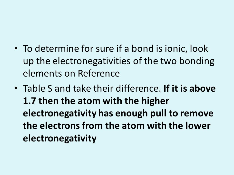 To determine for sure if a bond is ionic, look up the electronegativities of the two bonding elements on Reference