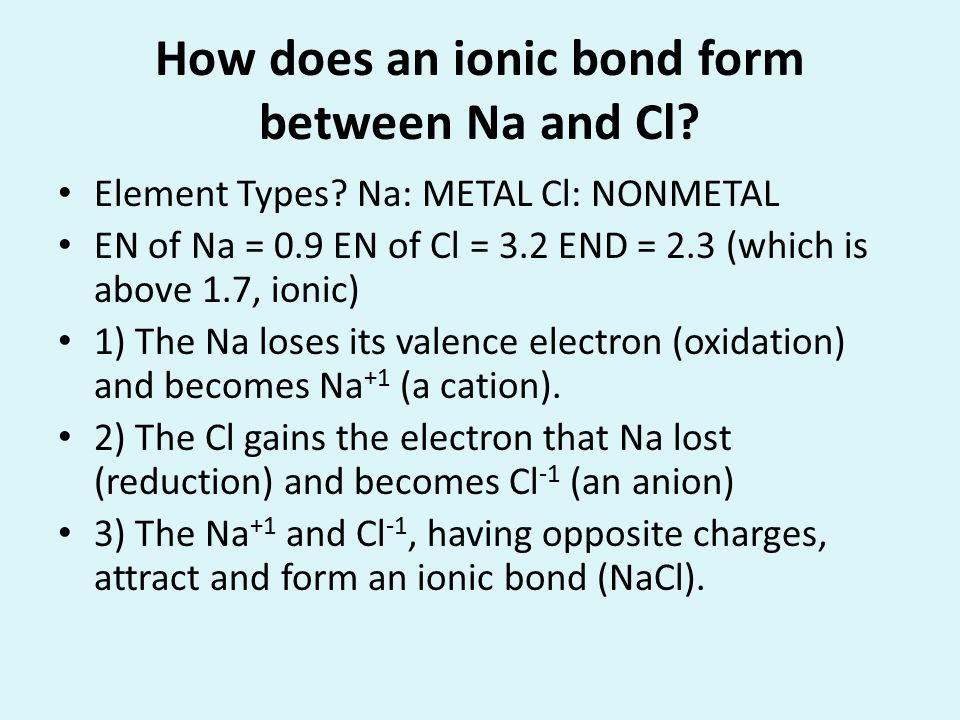 How does an ionic bond form between Na and Cl