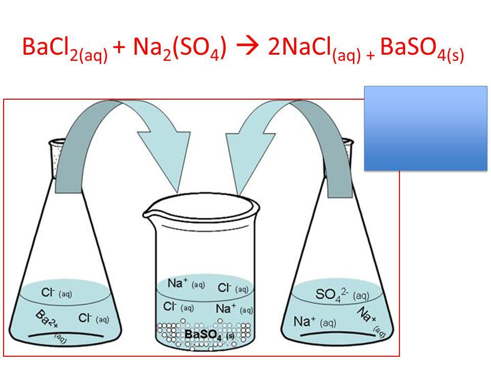 BaCl2(aq) + Na2(SO4)  2NaCl(aq) + BaSO4(s)