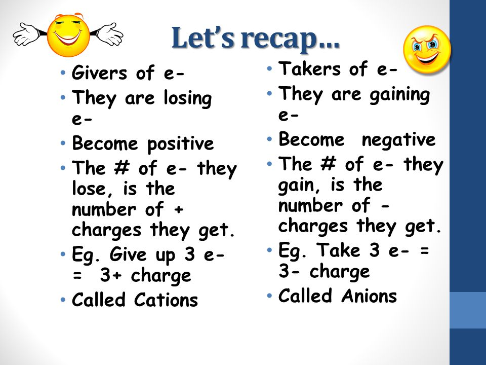 Let's recap… Takers of e- Givers of e- They are gaining e-