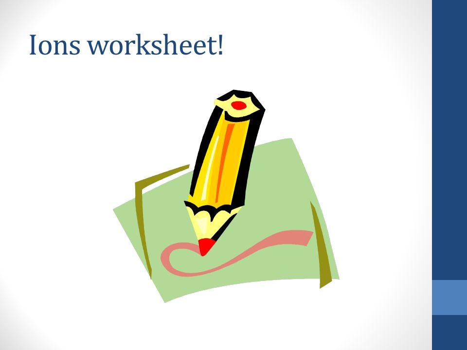 Ions worksheet!