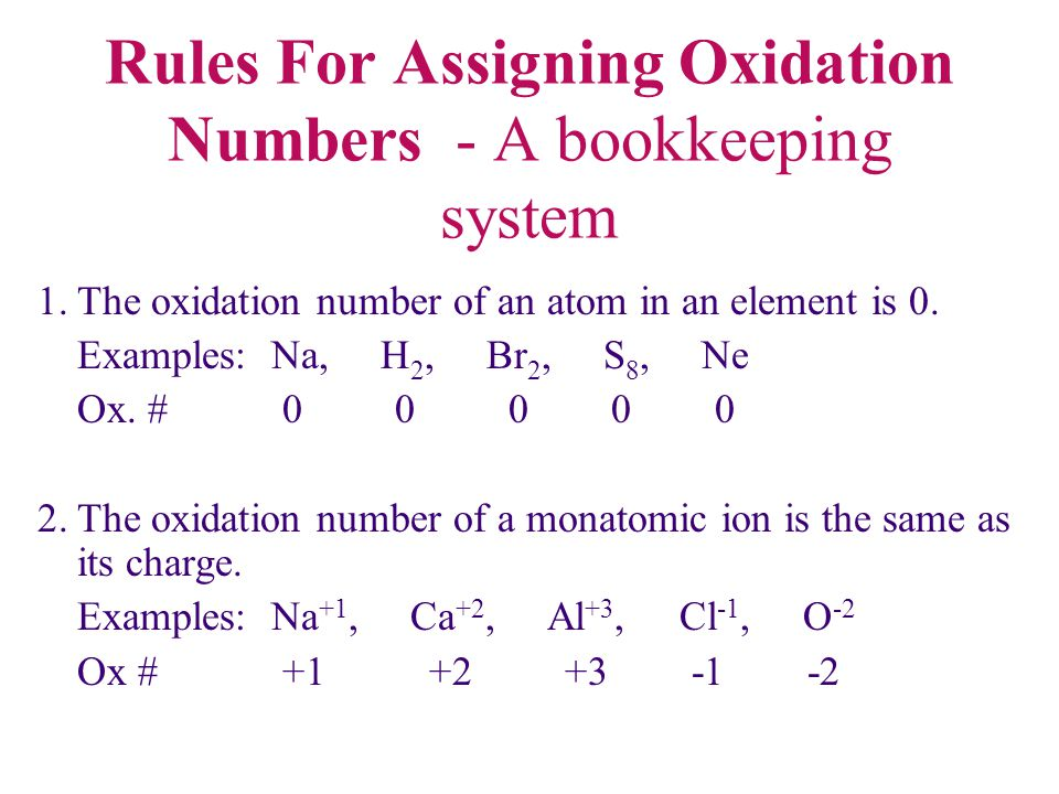 Rules For Assigning Oxidation Numbers - A bookkeeping system