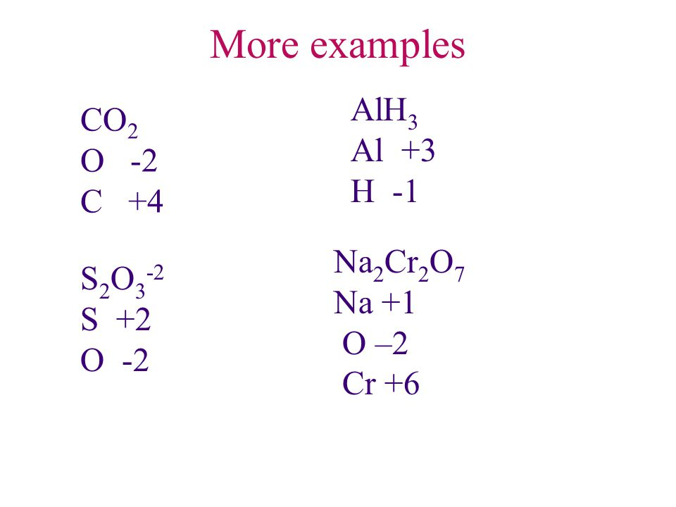 More examples AlH3 CO2 Al +3 O -2 H -1 C +4 Na2Cr2O7 S2O3-2 Na +1 S +2