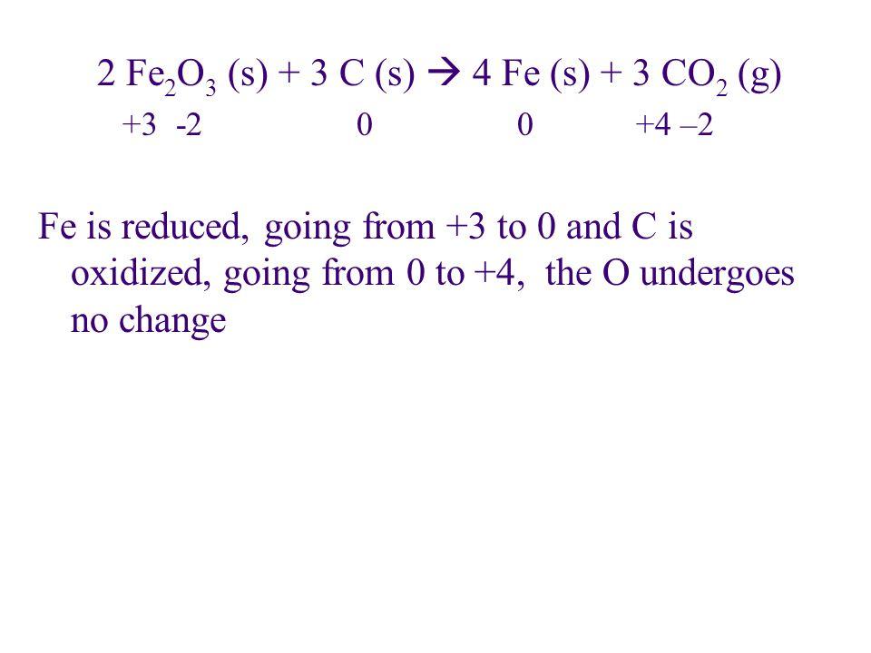 2 Fe2O3 (s) + 3 C (s)  4 Fe (s) + 3 CO2 (g)