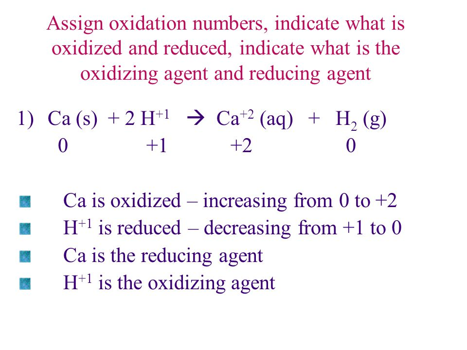 Assign oxidation numbers, indicate what is oxidized and reduced, indicate what is the oxidizing agent and reducing agent