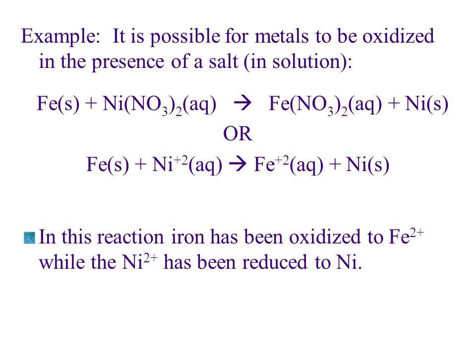 Fe(s) + Ni+2(aq)  Fe+2(aq) + Ni(s)
