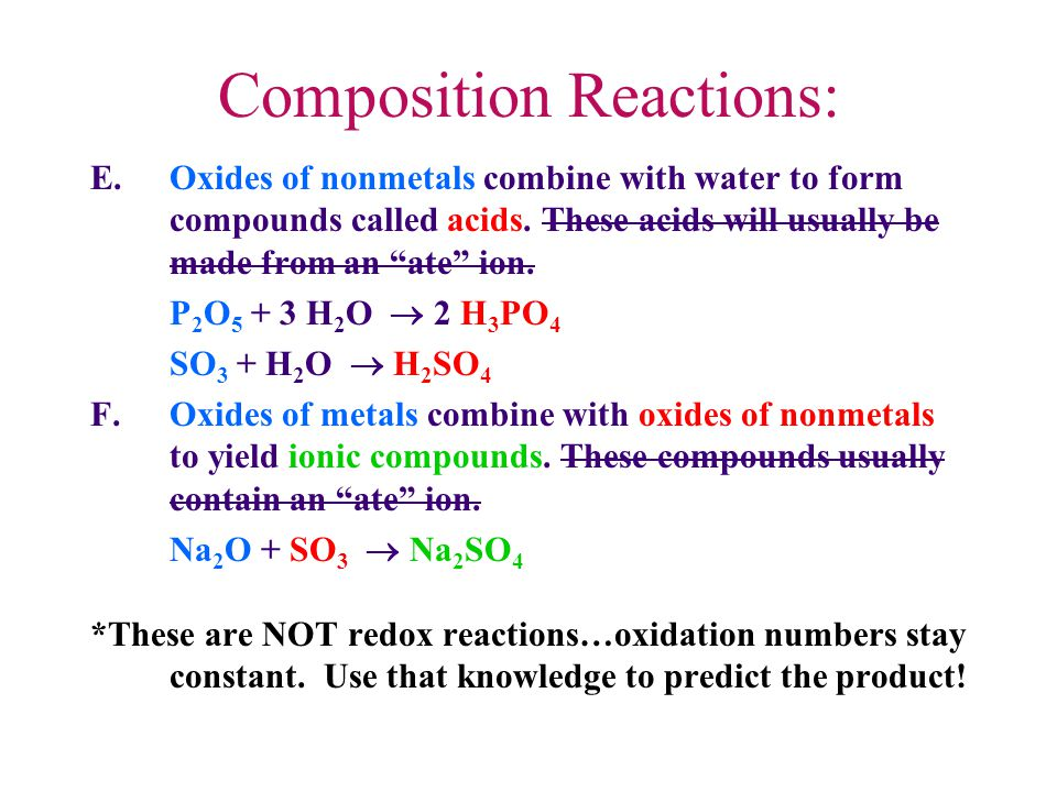 Composition Reactions: