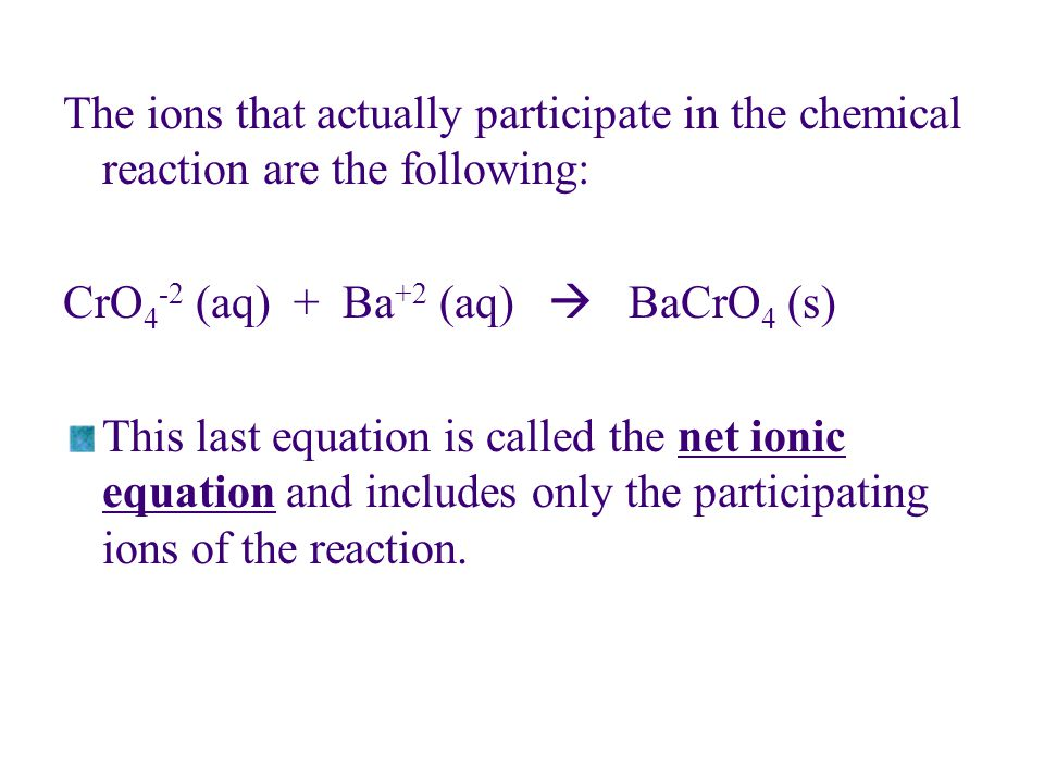 The ions that actually participate in the chemical reaction are the following: