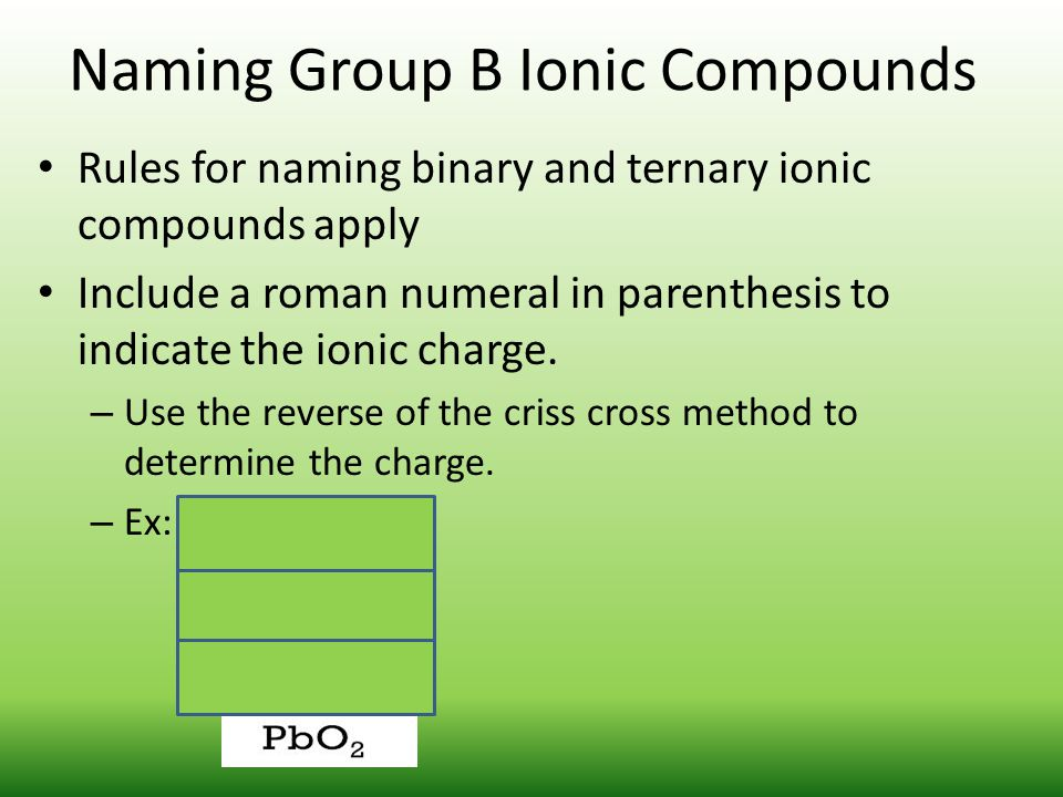 Naming Group B Ionic Compounds