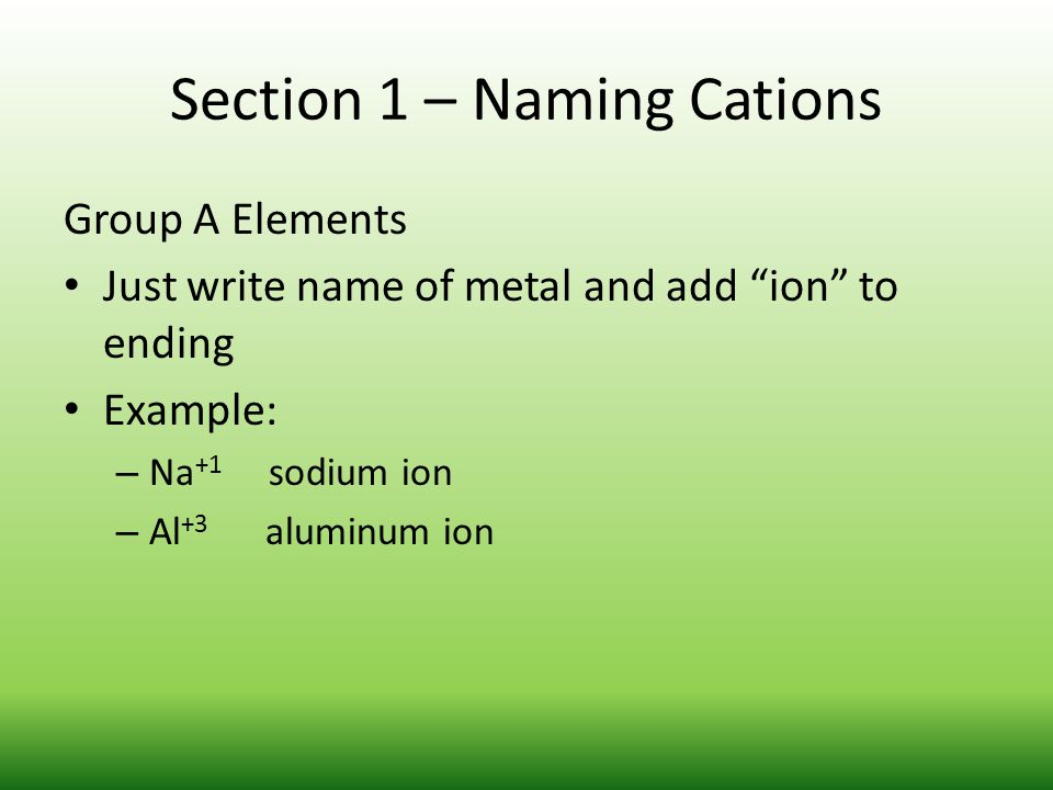Section 1 – Naming Cations