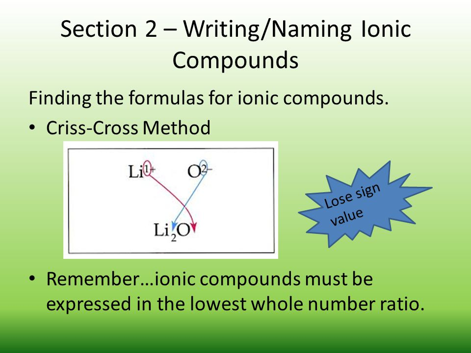 Section 2 – Writing/Naming Ionic Compounds