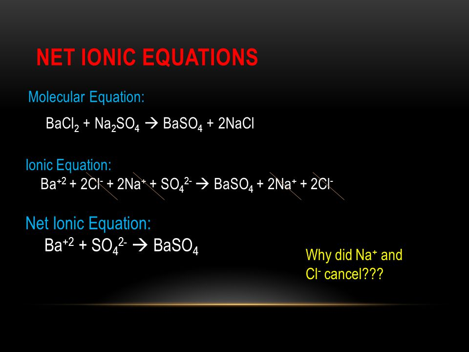 Net Ionic Equations Net Ionic Equation: Ba+2 + SO42-  BaSO4