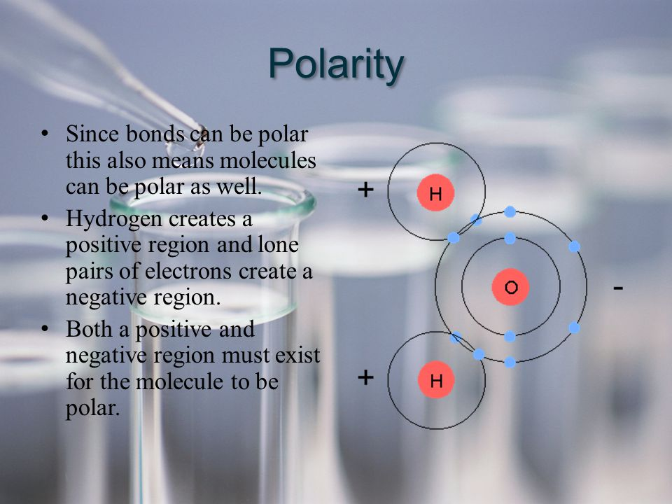 Polarity Since bonds can be polar this also means molecules can be polar as well.