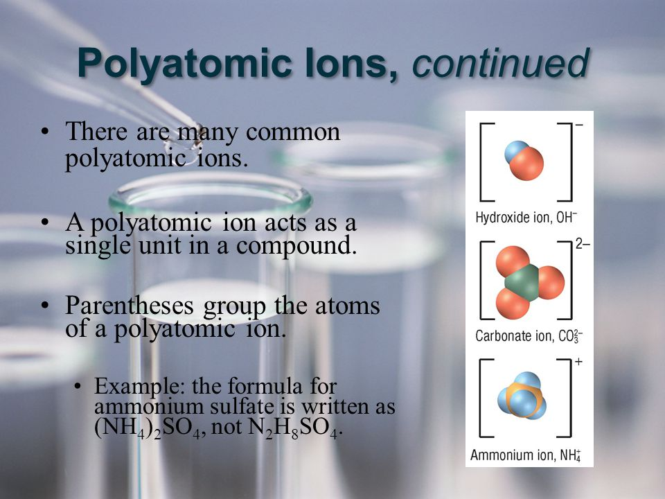 Polyatomic Ions, continued