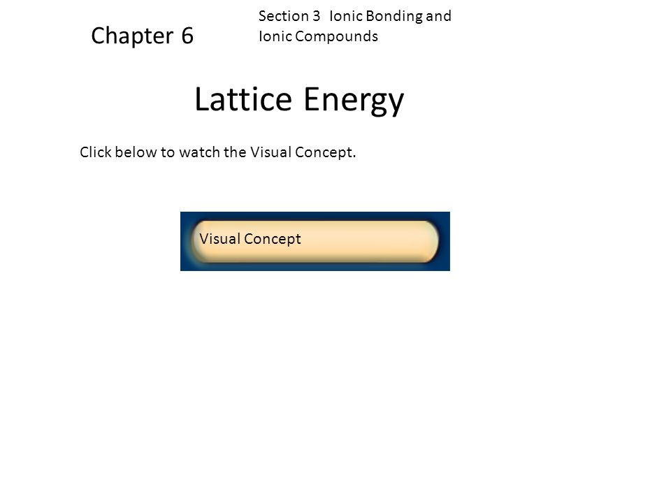 Lattice Energy Chapter 6 Section 3 Ionic Bonding and Ionic Compounds