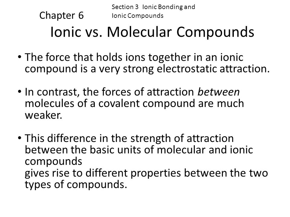 Ionic vs. Molecular Compounds