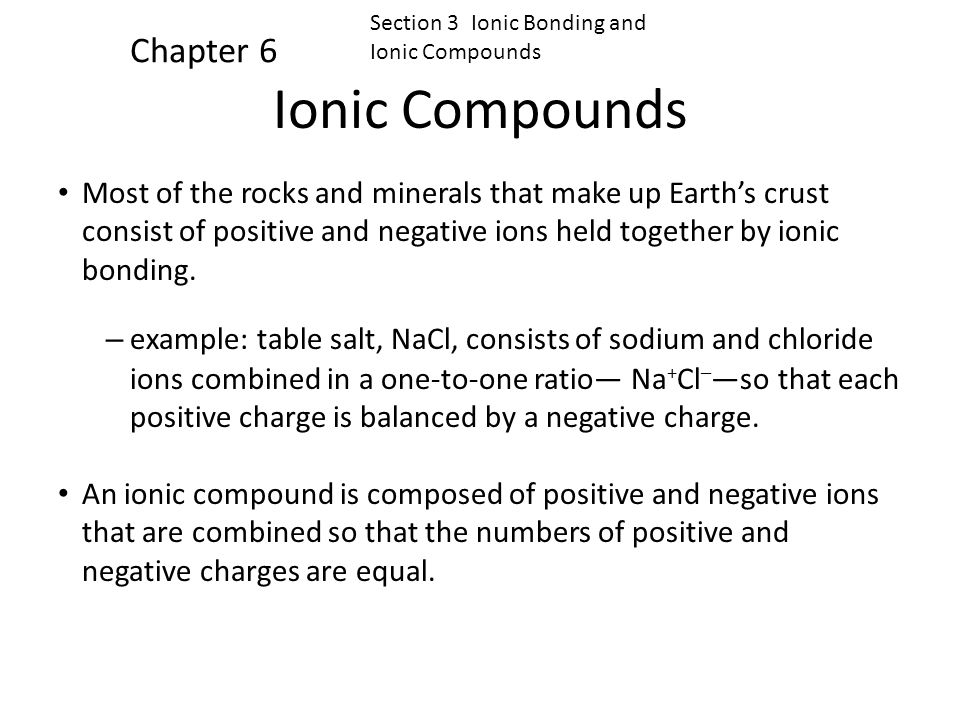 Ionic Compounds Chapter 6