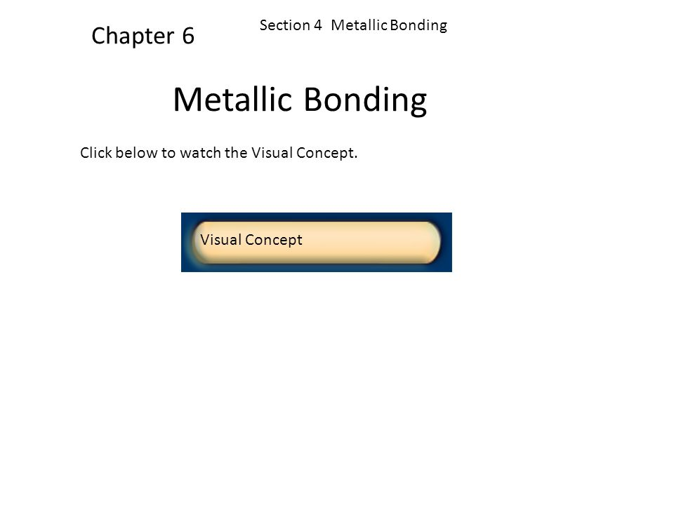 Metallic Bonding Chapter 6 Section 4 Metallic Bonding