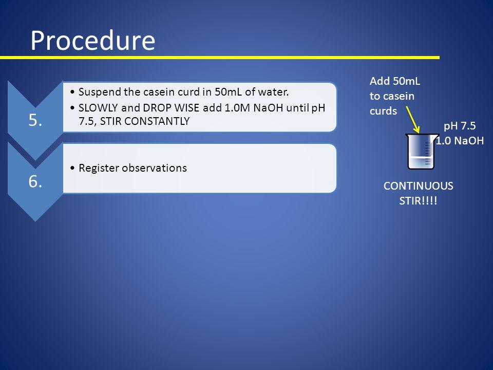 Procedure 5. 6. Add 50mL to casein curds