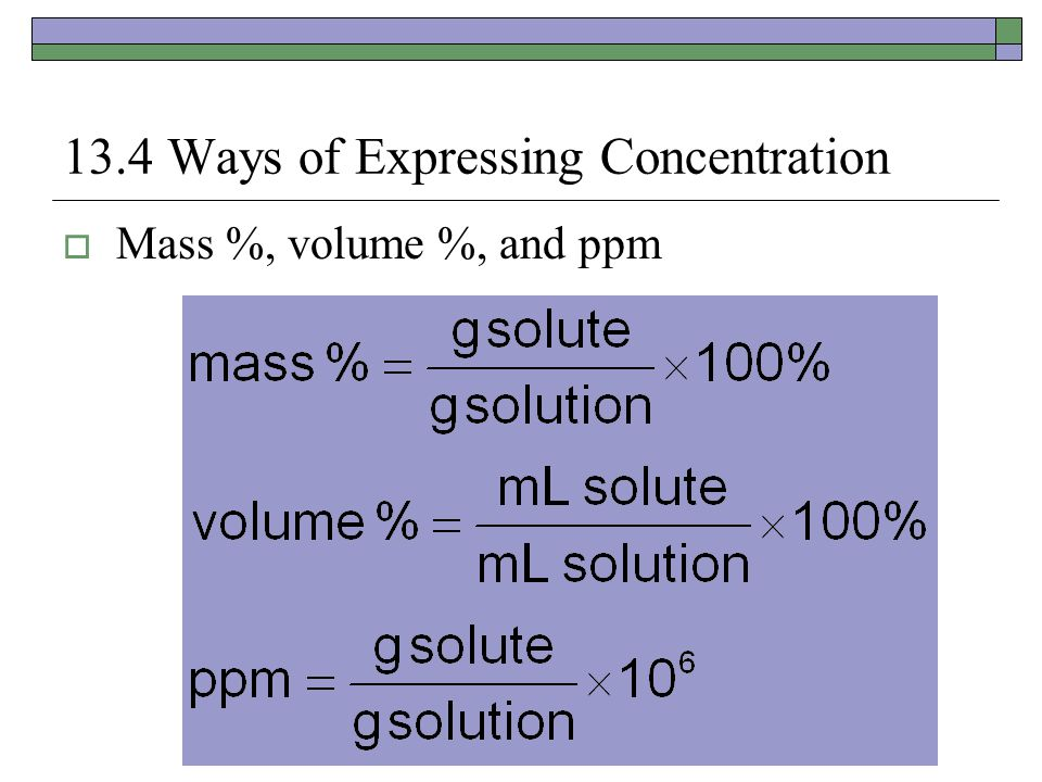 13.4 Ways of Expressing Concentration