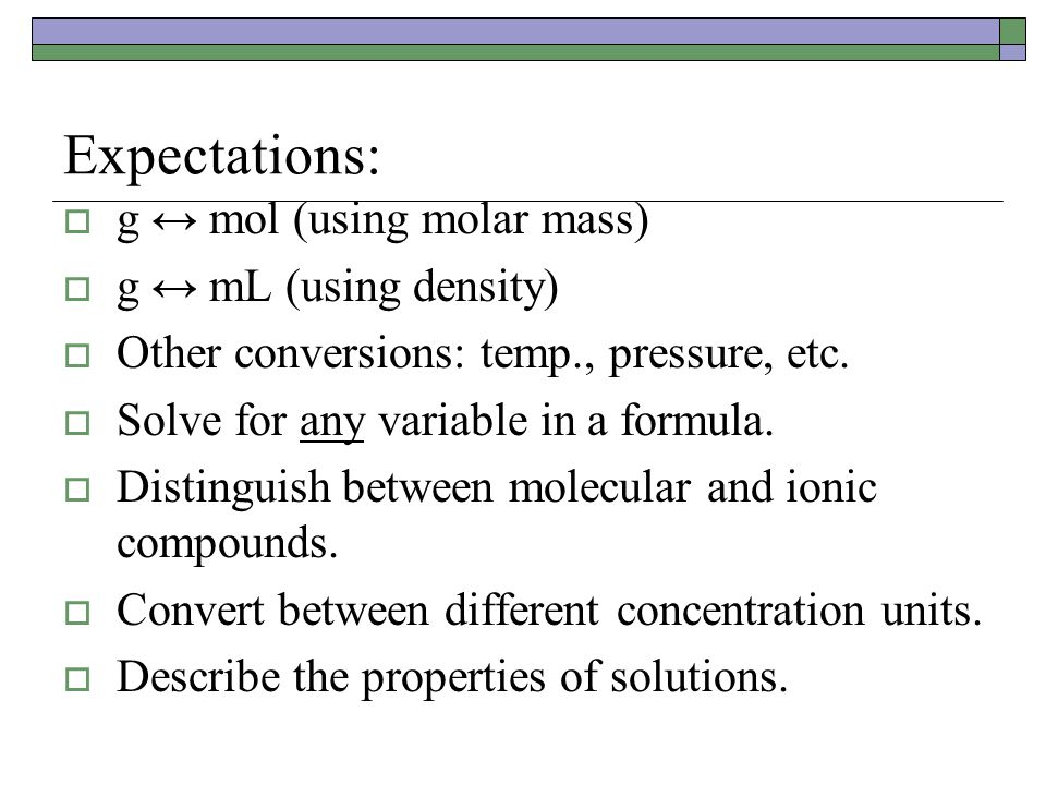 Expectations: g ↔ mol (using molar mass) g ↔ mL (using density)