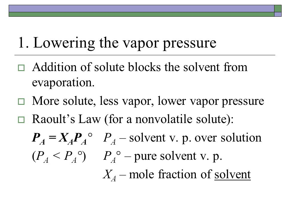 1. Lowering the vapor pressure