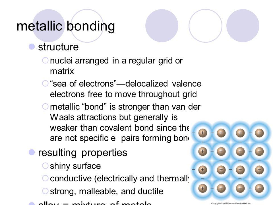 metallic bonding structure resulting properties