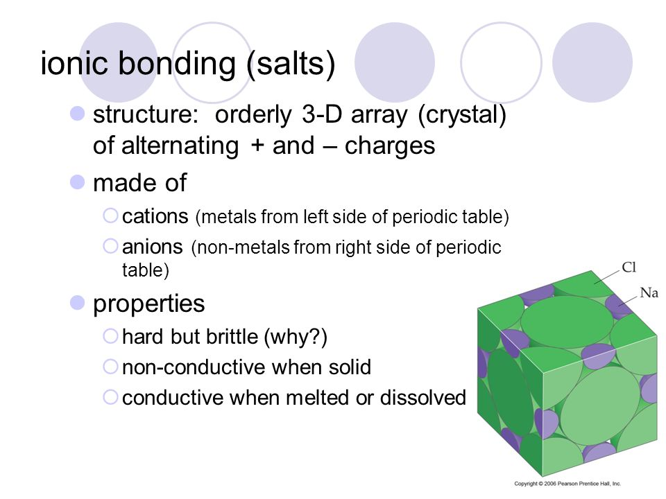 ionic bonding (salts) structure: orderly 3-D array (crystal) of alternating + and – charges. made of.