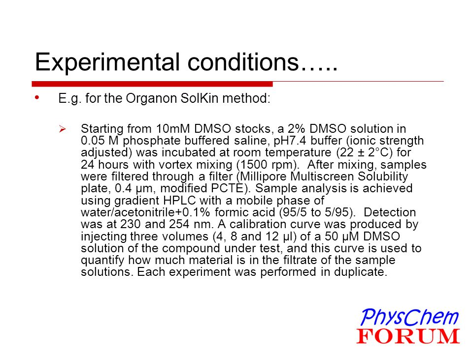 Experimental conditions…..